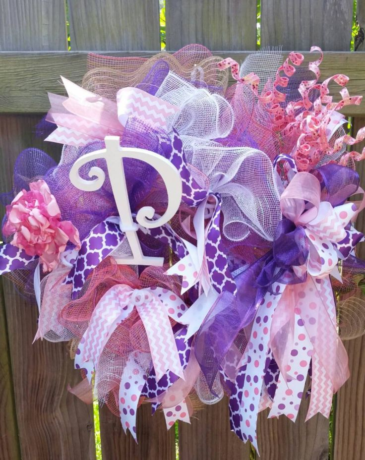 Deco Mesh Wreath, Nursery Accent, Hospital door hanger, Girls Wall Door Wreath, baby shower decoration, dorm decor, Teen, birthday, Initial  #etsy #vineandwhimsy #gifts #wedding #bachelorette #tumbler #favors #party #monogram #personalized #decals