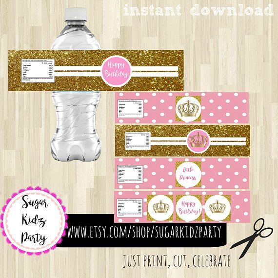 70% princess, water bottle, labels, kids birthday, kids party, printables, party bottle wrappers, princess, gold and pink, bottle labels,