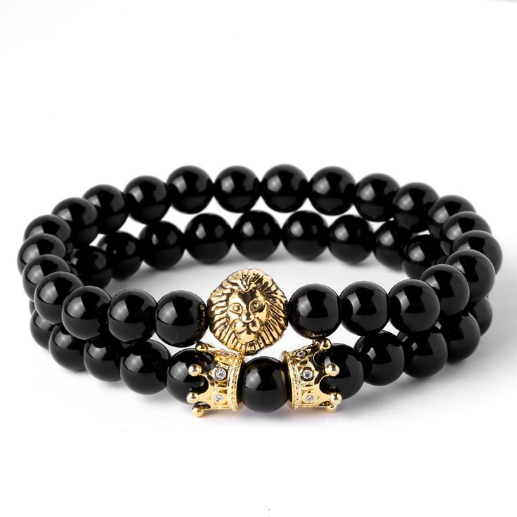Mcllroy Natural Agate & OXY Stone Beads Pave CZ Crowns Men Women Jewelry Animal Charm Bracelet Lion Head with Crown Bracelet