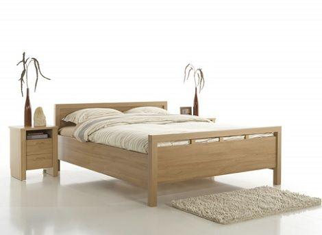 Ledikant Boston eiken,120 cm. breed x 200/210/220 cm. lang  Bed op comforthoogte