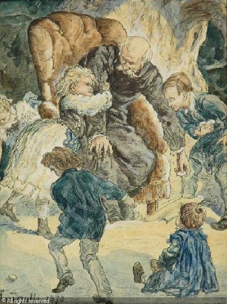 Dzieci bawiące się z dziadkiem ANDRIOLLI