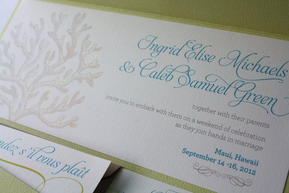 Love this font and the graphics. Not available as PSD file though. Tropical Coral EcoFriendly Destination Wedding by GreenQuince