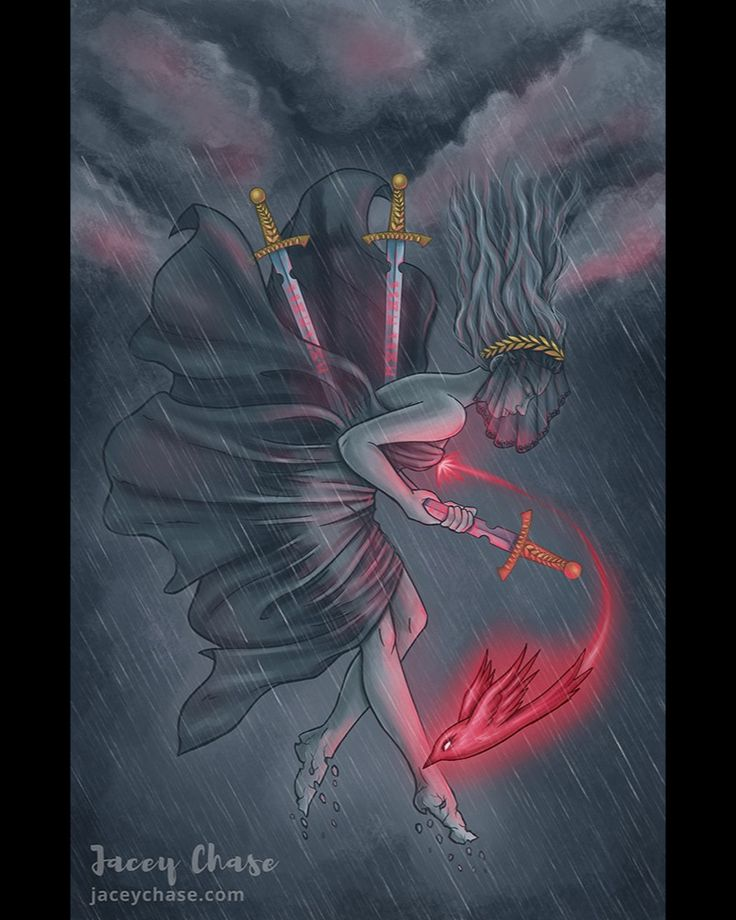 """by jaceychase """"Based on the Three of tarot card. The cards meaning relates to loss heartbreak sorrow painful separation and grief."""" #fantasy  #esoterica  #alchemist  #inspiration  #pagansofinstagram"""