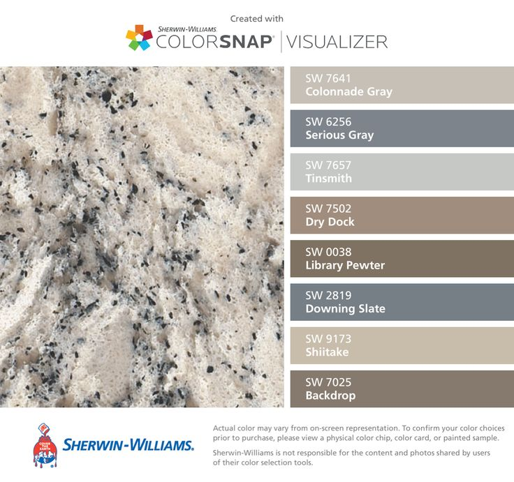 I found these colors with ColorSnap® Visualizer for iPhone by Sherwin-Williams: Colonnade Gray (SW 7641), Serious Gray (SW 6256), Tinsmith (SW 7657), Dry Dock (SW 7502), Library Pewter (SW 0038), Downing Slate (SW 2819), Shiitake (SW 9173), Backdrop (SW 7025) Cambria summer hill quartz
