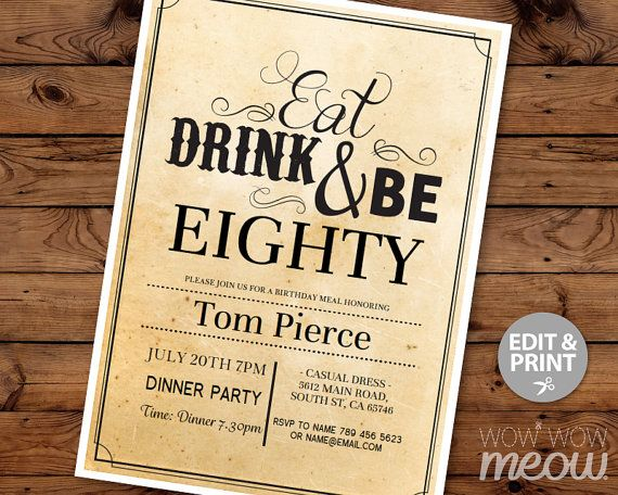 80th Invitations Eat Drink and Be EIGHTY 80 Birthday by wowwowmeow
