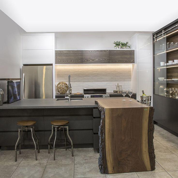 Lot avec armoires en acrylique gris fonc avec comptoir de b ton et noyer massif cuisine en - Cuisine gris fonce ...