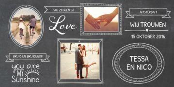 Stoere langwerpige trouwkaart met zwarte krijtbord achtergrond met trendy kaders met jullie foto's erin.