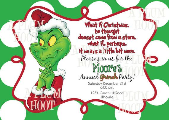 Grinch Christmas Party Invitation (Personalized, Customizable, 5x7, D…