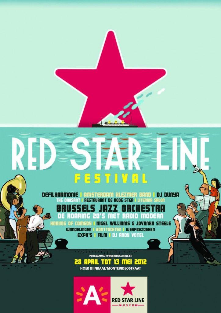 Red Star Line by Van Der VekenU R Invitations, Festivales Post Logo, Vans Of, Posters Festivals, Der Veken, Red Stars, Hooox A E