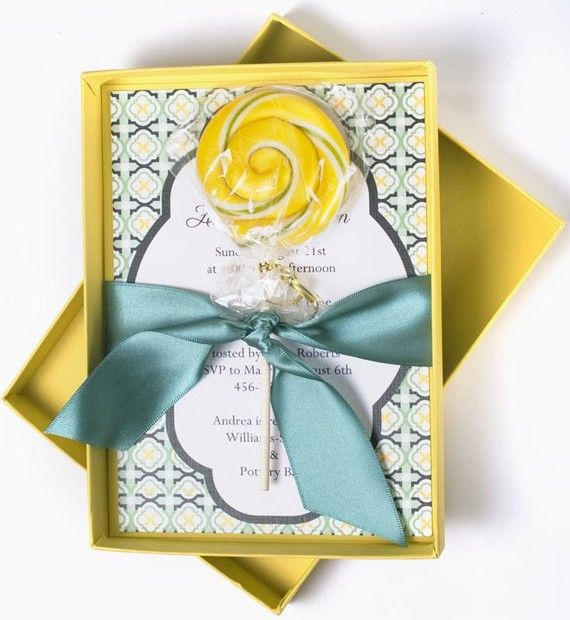 Luxury, Spring Wedding Boxed Invitation Lollipop - LEMONDROPS AND RAINDROPS  by When  Where Invites on Etsy Price: $10.85 each  Buy It Now!: http://etsy.me/13qCyus  #handmadeinvitations #invitations #custominvitations #partyinvitiations #invites #weddinginvitations #announcements #birthdayinvitations #customaddresslabels #addresslabels
