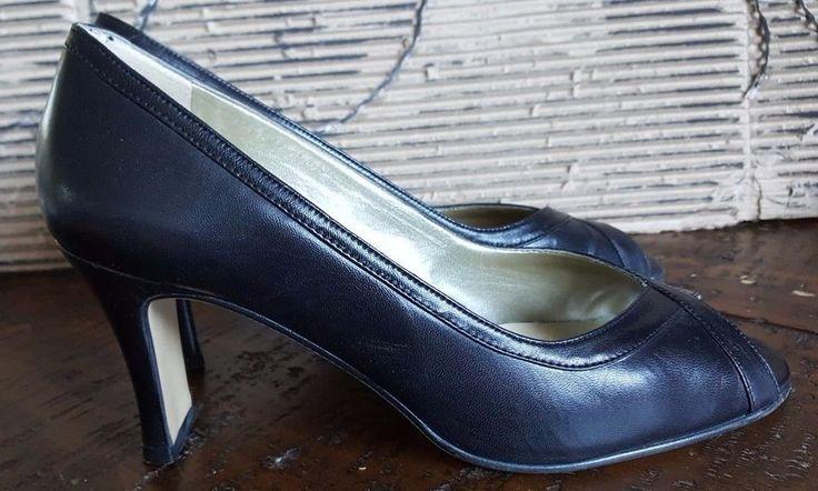 Vintage Roland Cartier ladies shoes UK 5.5 (38.5 ) black sandals peep toes heels