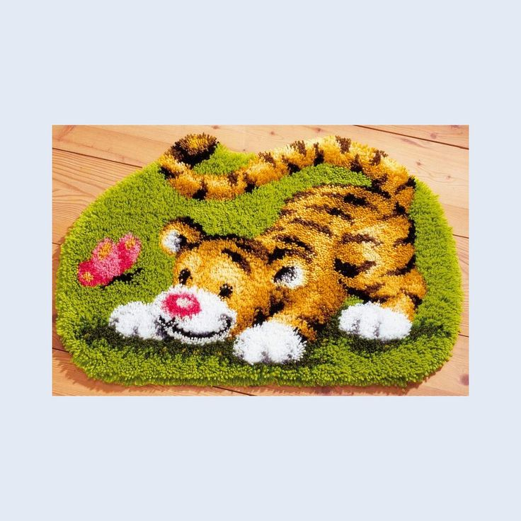 Tiger Playing with Butterfly - Latch Hook Rug