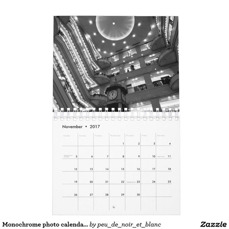 Monochrome photo calendar 2017