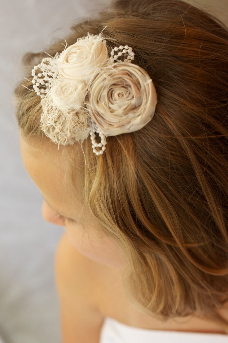 vintage inspired wedding flower hair piece beige cream ivory pearls beads  photo prop  hair clip fabric flower children newborn flower girl
