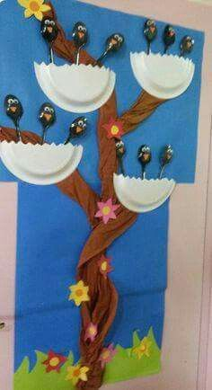 Blackbirds are made with plastic spoons and nest is cut paper plate with tree made of Brown packing paper
