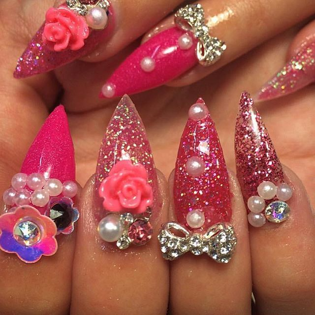 Pink bling nails by @deadlynails
