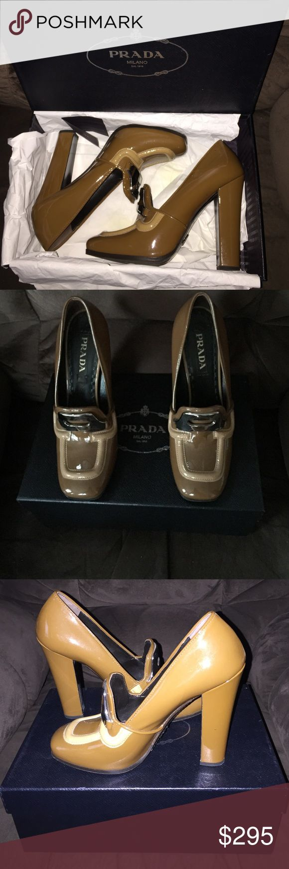 "Prada runway Pump Patent leather camel pump with distinctive details like hardware and piping. High fashion, was on waiting list for this""Dream"" pump. Plus the color go with everything. Enjoy. Like new Prada Shoes Heels"