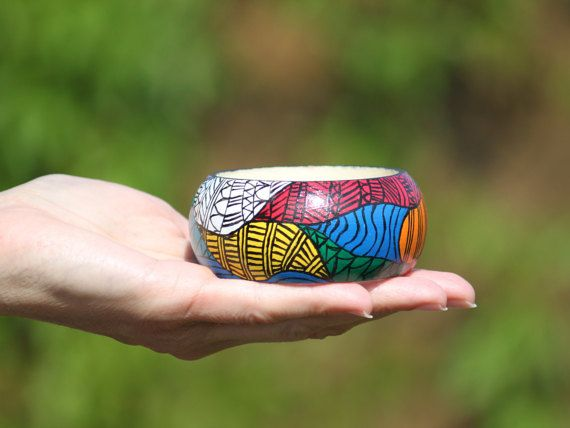 Hand-painted colourful wooden bracelet with by DeaJewelryStore