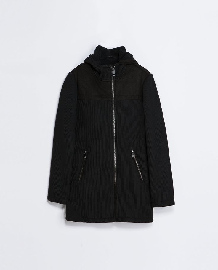 Zara KNITTED THREE QUARTER LENGTH COAT WITH HOOD  Ref. 0706/325  179.00 CAD               OUTER SHELL  100% POLYESTER
