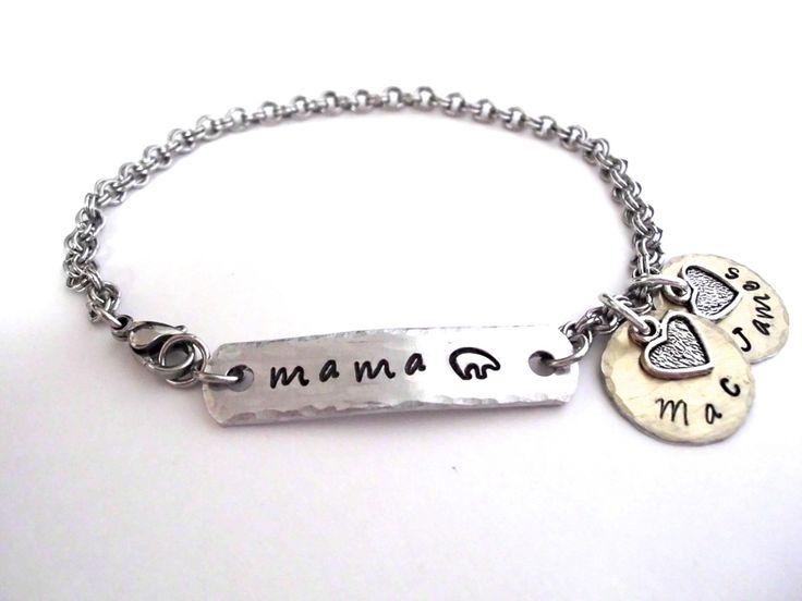 Mama Bear Jewelry, Mama Bear Bracelet, Name Bracelet, Mommy Jewelry, Stainless Steel Bracelet, 1+ discs by CharmAccents on Etsy
