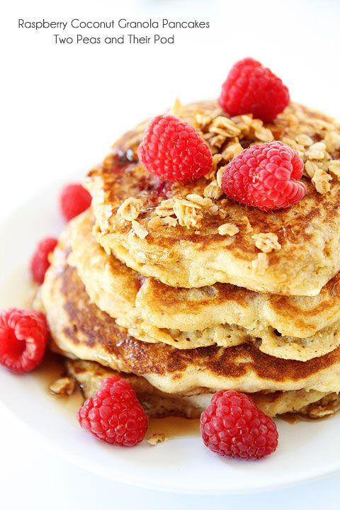Raspberry Coconut Granola Pancakes Recipe on twopeasandtheirpod.com #pancakes
