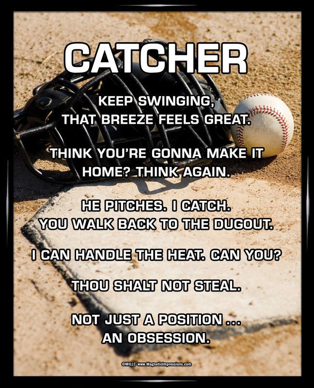"Start laughing with Baseball Catcher Poster Print. Funny sayings like, ""Keep swinging, that breeze feels great,"" will inspire baseball catchers on and off the field. Funny baseball sayings and an imag"