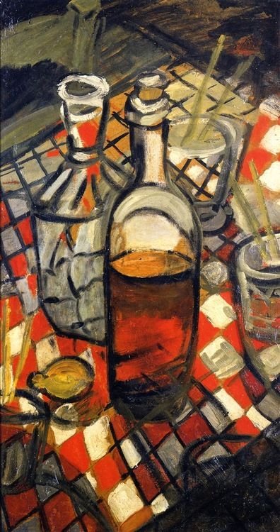 Auguste Chabaud: Still Life with Checkered Tablecloth (1908) ~Via Niels Hiort