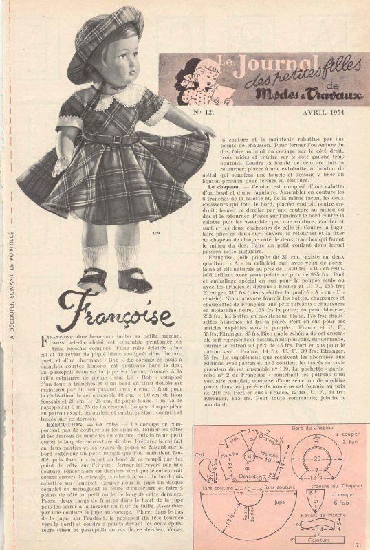 Poupée Françoise de Modes et Travaux. Avril 1954
