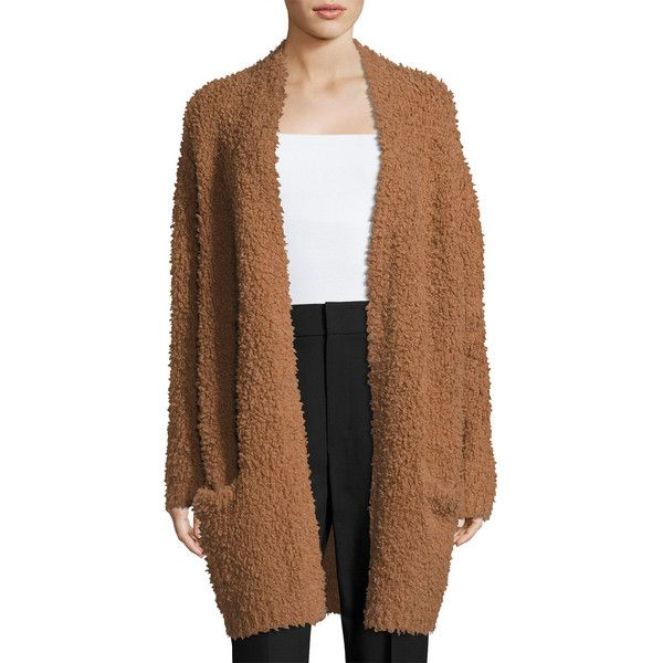 Vince Teddy Long Open-Front Cardigan (1,935 PEN) ❤ liked on Polyvore featuring tops, cardigans, dark camel, women's apparel sweaters, brown cardi, brown long sleeve top, vince cardigan, long open cardigan and long camel cardigan
