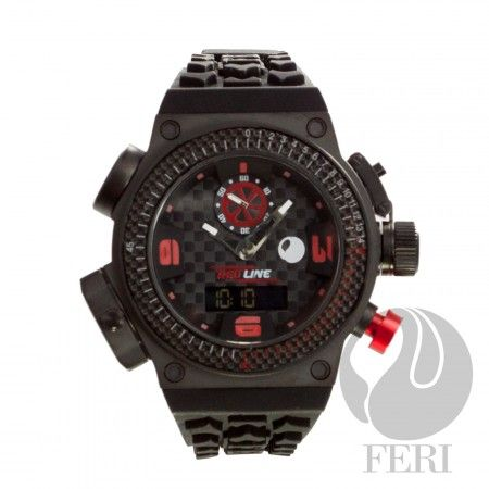 FERI Red Line - Burnout Watch - Black - 3 Swiss movements - 6 compounds construction including Titanium case - Genuine carbon fibre on the Basel and throughout the face - Silicon strap with square buckle - 10 ATM of water resistance - Light and comfortable - A genuine sports watch with multi functions - 3 year limited manufacturer warranty - Hypoallergenic  Invest with confidence in FERI Designer Lines.  www.gwtcorp.com/ghem or email fashionforghem.com for big discount