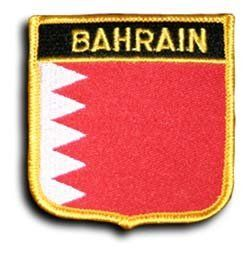 """Bahrain - Country Shield Patches by flagline. $2.75. 2.5"""" x 2.75"""" Shield Patch - new. Our shield patches feature each country's flag below the name, and can be sewn on or ironed on. Actual size is approximately 2.5"""" x 2.75"""".. Save 30% Off!"""