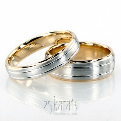 HH-BA100258 14K Gold Chic Brushed Basic Carved Wedding Ring Set