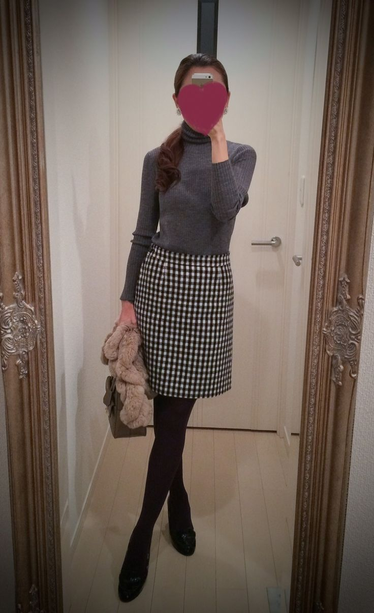 Gray blouse with black and white skirt - http://ameblo.jp/nyprtkifml