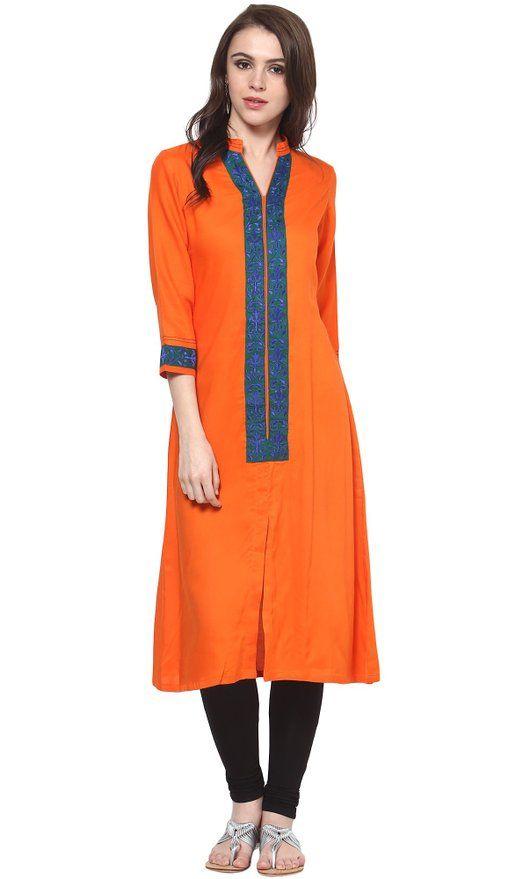 Indi Dori Women's Rayon Orange Rayon Kurti M Orange