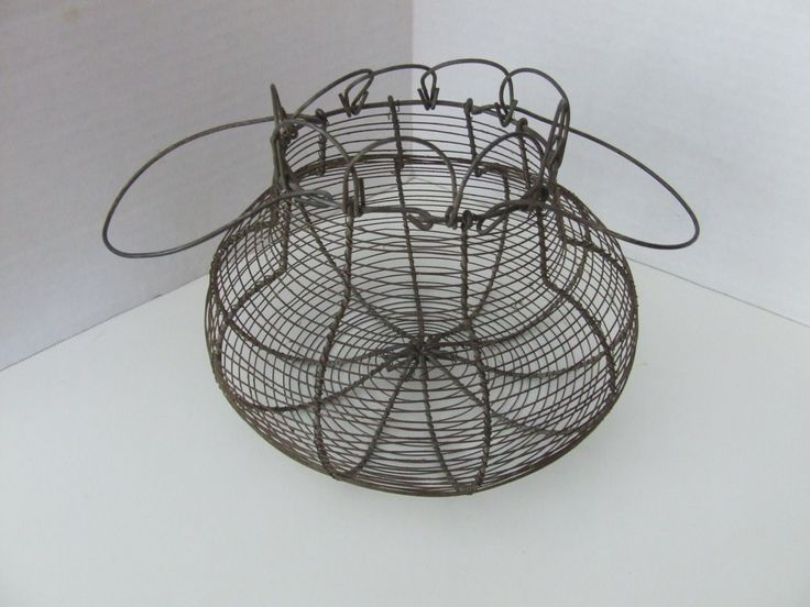 French Wire Basket, Egg Basket, Vintage Wire basket, Vintage Garden Basket, Shabby Chic Decor, Wire Basket Decor, Round Vintage Basket, Gift by BeautyMeetsTheEye on Etsy