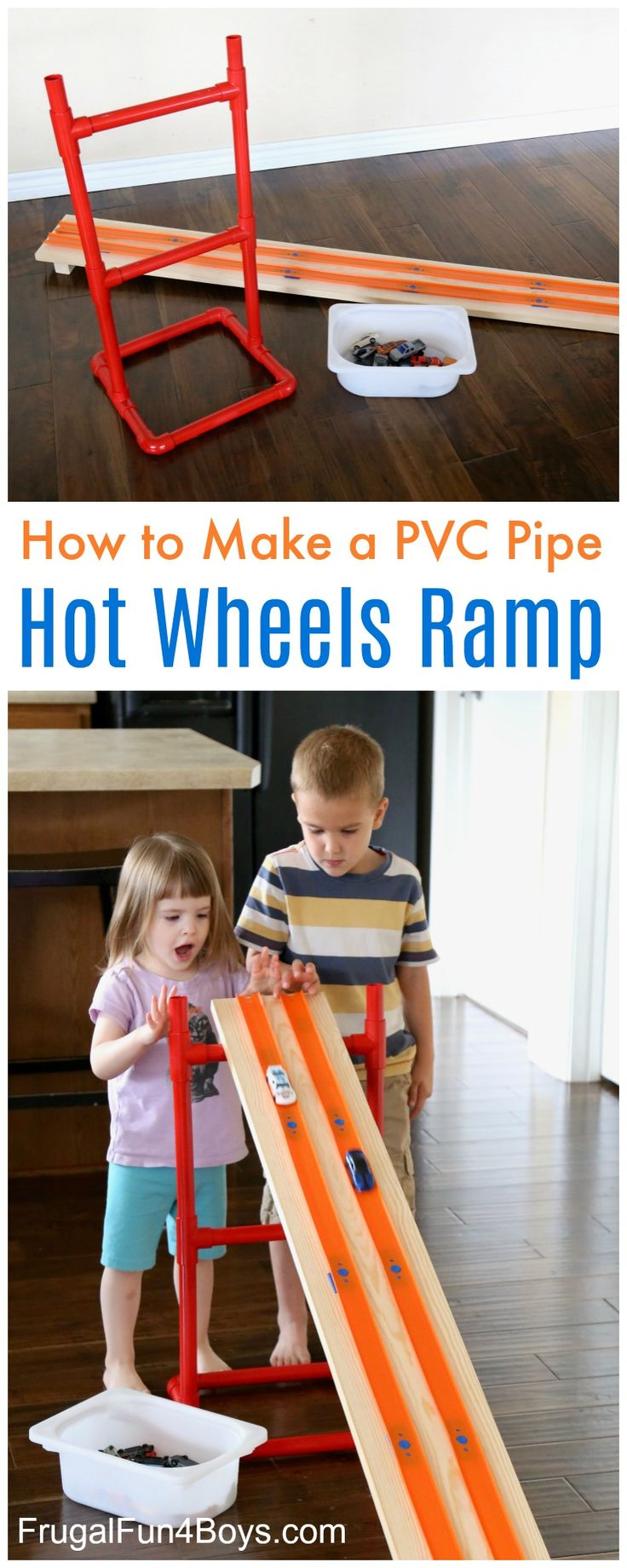 This fun ramp will take your Hot Wheels race tracks to a whole new level – literally!  The boys love building Hot Wheels tracks on the hard floor, but it's challenging to keep a ramp from sliding across the floor.  Here's a simple solution that will get played with again and again! The design of …