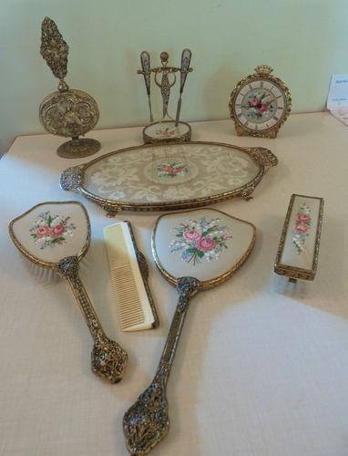 Victorian Petit Point Vanity Set Includes Perfume Bottle Clock 11 Pieces