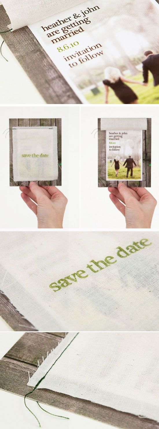 Stitched Wood Save the Dates | DIY Winter Wedding Invitations on a Budget