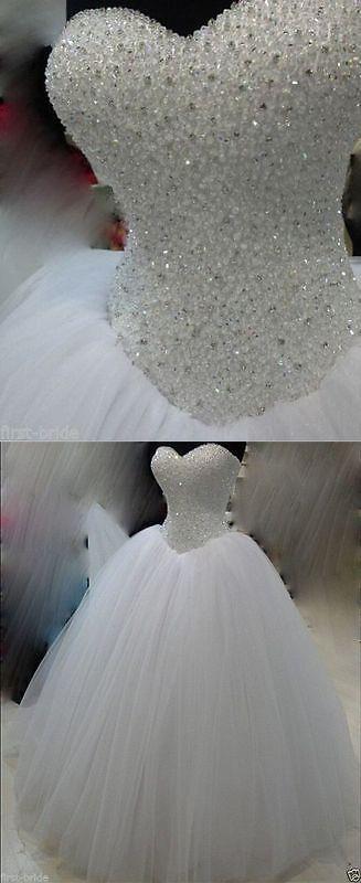 Brautkleider: New White / Ivory Beadding Brautkleid Brautkleid Benutzerdefinierte Größe