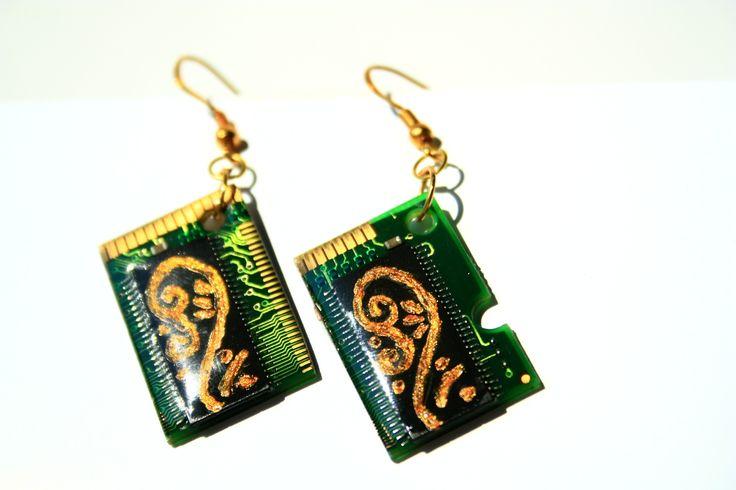 cyberpunk handmade earrings from old RAM pieces