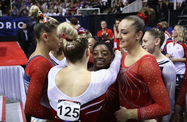 MyKayla Skinner hugs Simone Biles following Day 2 of the 2016 U.S. Women's Gymnastics Olympic Trials at SAP Center on July 10, 2016 in San Jose, California.