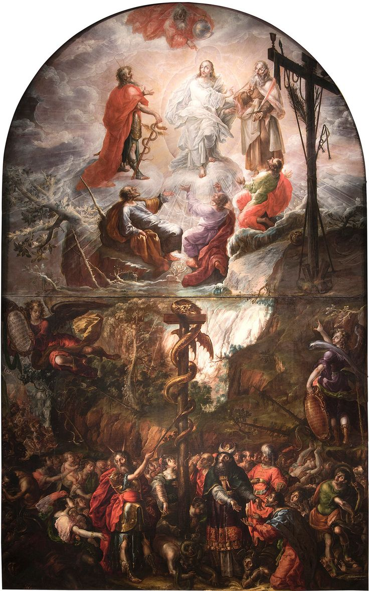 """Moses and the Brazen Serpent and the Transfiguration of Jesus,"" 1683, by Cristóbal de Villalpando, an altarpiece in ""Cristóbal de Villalpando: Mexican Painter of the Baroque,"" at the Metropolitan Museum of Art. From Colonial Mexico, a Towering Vision of Grace - The New York Times"