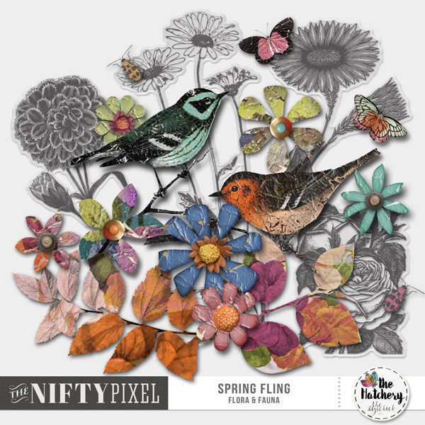 SPRING FLING | Flora & Fauna This is a fun mix of cute had cut flowers, birds & insects. Each flower is unique with a slightly worn and weathered old world flavour, ideal for scrapping those vintage/ heritage inspired projects.  DOWNLOAD INCLUDES:  7X Handcut Flowers 4X Acetate Flowers 2X Foliage 4X Insects 2X Birds All products are saved at 300ppi for optimum printing quality.