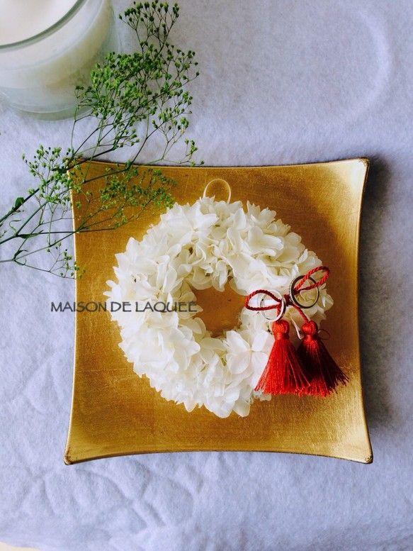 再販×7□真っ白紫陽花のリングピロー♡赤タッセルver.|リングピロー|ハンドメイド通販・販売のCreema