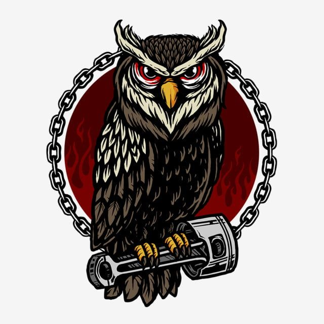 Vector Of Owl And Piston For Motorcycle Club T Shirt Design Animation Clipart Animal Vector Animal Png Transparent Clipart Image And Psd File For Free Downlo Animal Vector Owl Logo Animated