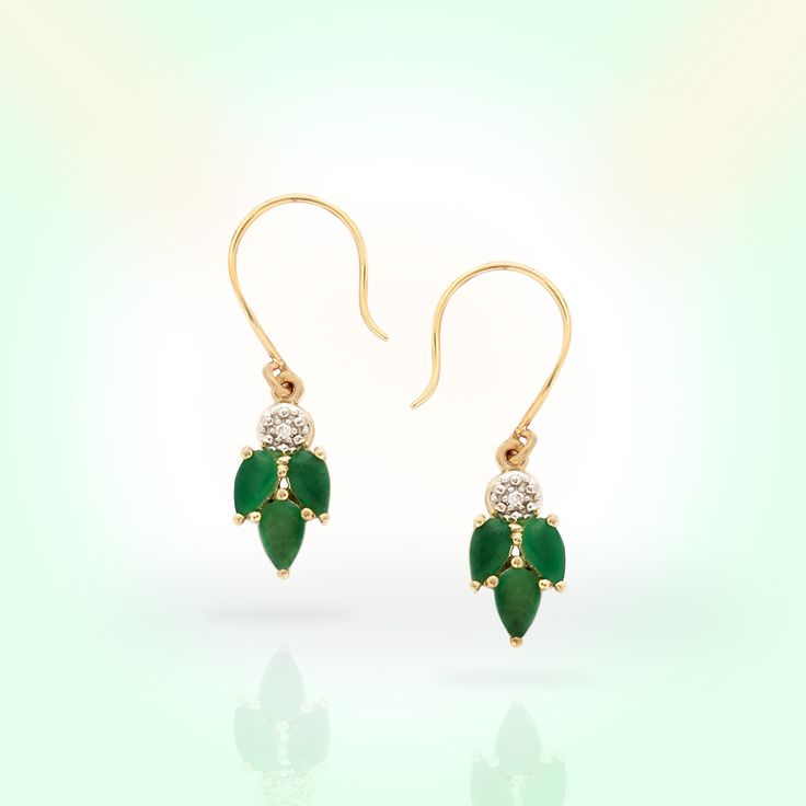 Emerald earrings with Diamond in 9K Gold   Gemporia India