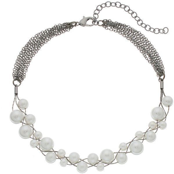Simply Vera Vera Wang Simulated Pearl Choker Necklace (88.140 COP) ❤ liked on Polyvore featuring jewelry, necklaces, white, white jewelry, white necklaces, clasp necklace, faux pearl choker necklace and white choker