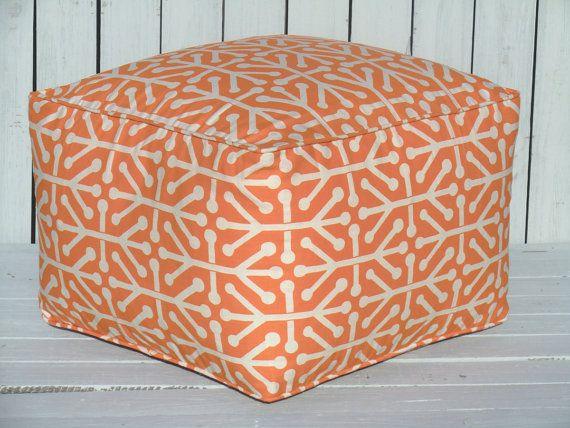 Orange square pouf ottman orange ottoman 20x20x14 by anitascasa, $135.00