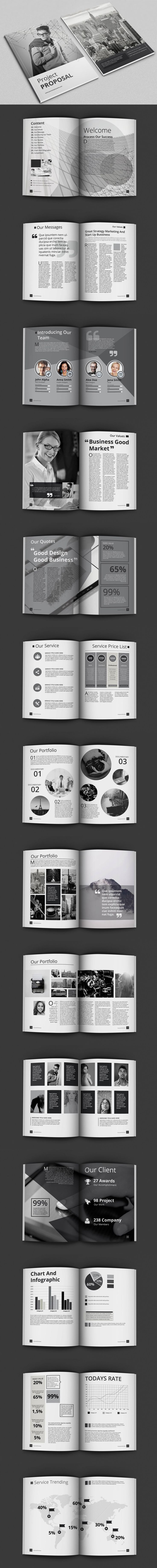 Black And White Proposal Project Template InDesign INDD - A4 And Letter Size