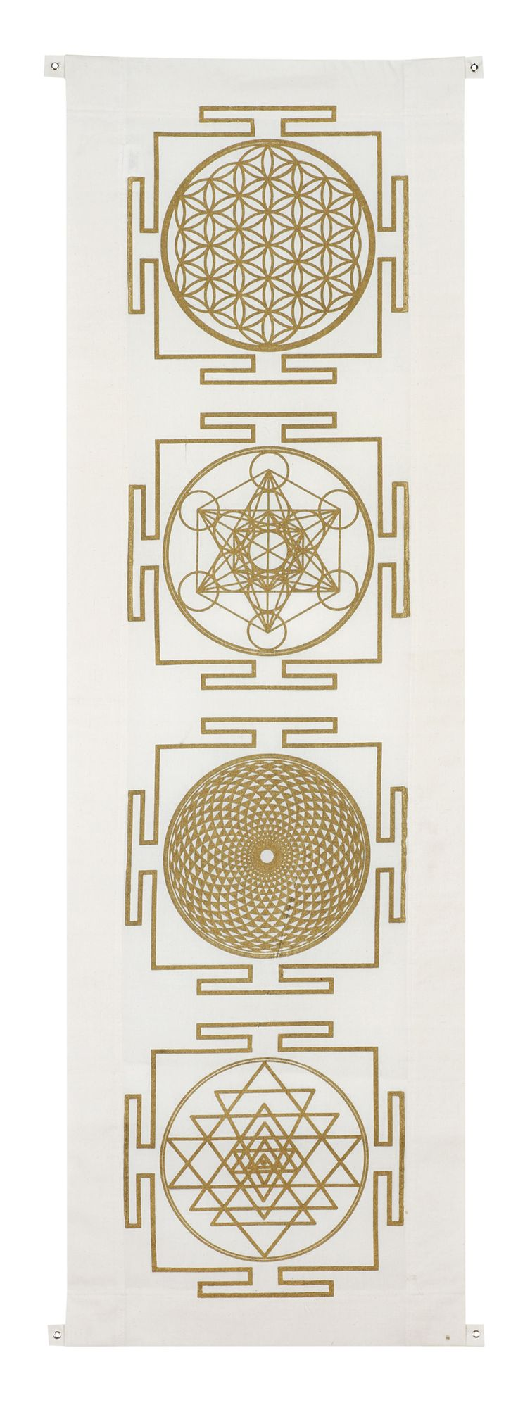 As the most significant of all the symbols in sacred geometry, the Flower of Life is encoded with the blue-print for all creation; containing within it the proportions of every single aspect of life there is.   Four yantra banner includes the symbols: flower of life, metatrons cube,  sahashara and sri yantra.